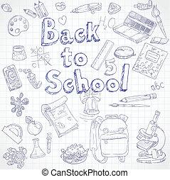 doodles, escuela, espalda