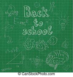 doodles, escuela, tabla espalda