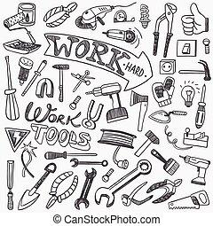 doodles, eszközök, dolgozó