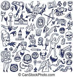 doodles, fée, -, contes