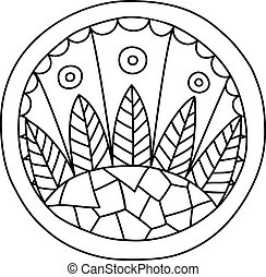Doodles filled circle - Round coloring page filled with hand...