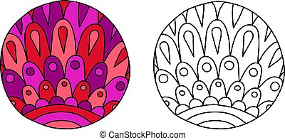 Doodles filled circle - Round coloring page with pink ...