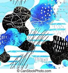 doodles, fläckar, abstrakt, hand, seamless, oavgjord, ...