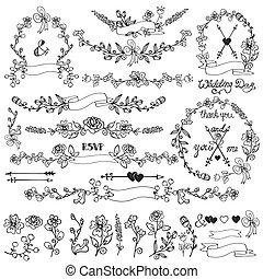 Doodles floral decor set.Wreath,Borders,elements.Outline -...