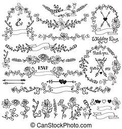 doodles, floral, decoração, set.wreath