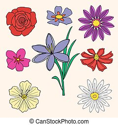 Doodles Flowers collection. Vector illustration, Isolated