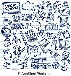 doodles, freehand, szkoła