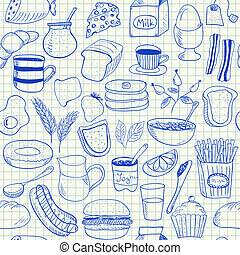doodles, fruehstueck, seamless, muster