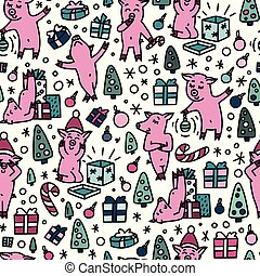 Doodles funnny pigs seamless colorful pattern. Symbol of the 2019 new year holidays background