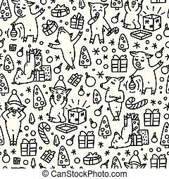 Doodles funnny pigs seamless pattern. Black and white symbol of the 2019 new year monochrome background