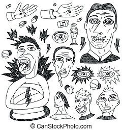 doodles, gek, set, -, mensen