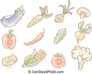 doodles, groentes, set, kleurrijke