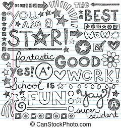 doodles, groot, werken, school, lof