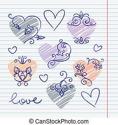 doodles, hand-drawn, 愛, スケッチブック