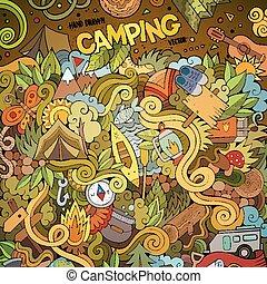 doodles, hand-drawn, campeggiare, cartone animato, ...