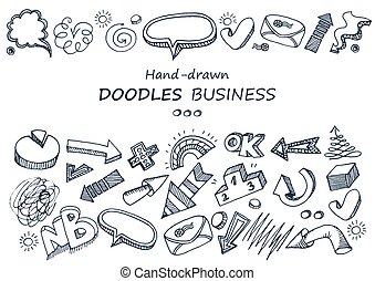 doodles, hand-drawn, elements., collection.