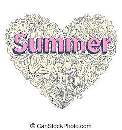 Doodles heart shape. Pastel color doodle heart vector illustration on white