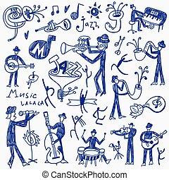 doodles, jazz, conjunto, músicos
