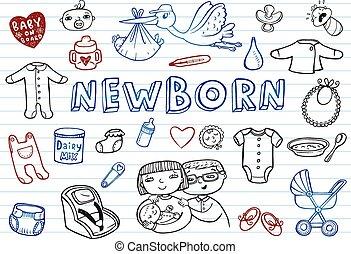 doodles, jogo, recem nascido