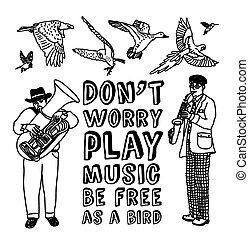doodles, juegue música, tarjeta