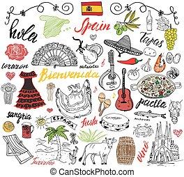 doodles, kéz, spanyolország, húzott, elements.