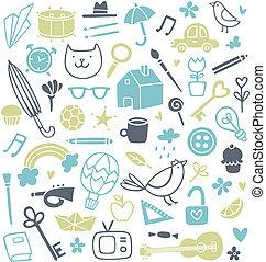doodles, különböző, állhatatos, 50, háttér
