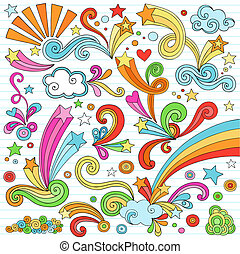 doodles, komplet, notatnik, wektor