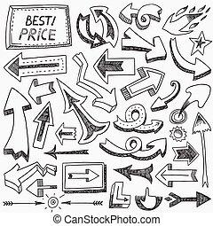doodles, komplet, strzały