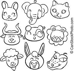 doodles, kopf, tier, sammlung, bestand