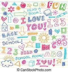 doodles, kredki, wektor, komplet, dzieciaki