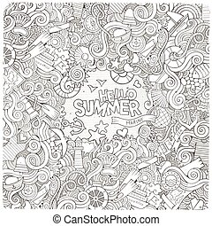 Doodles line art abstract decorative nautical vector frame desig