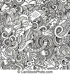 Doodles Love vector sketchy seamless pattern