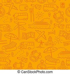 doodles, mão, viagem, desenhado, seamless, padrão