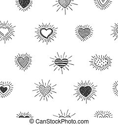doodles, mano, envoltura, valentines, dibujado, pattern.,...