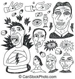 doodles, matto, set, -, persone