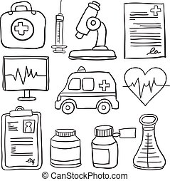 doodles, monde médical, collection, stockage