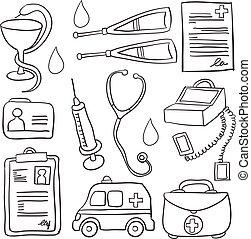 doodles, monde médical, objet, collection