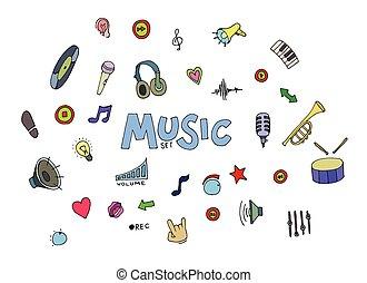 doodles, musique, coloré