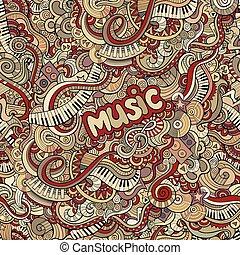 doodles, musique, seamless, modèle