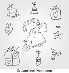 doodles, natal, anjo