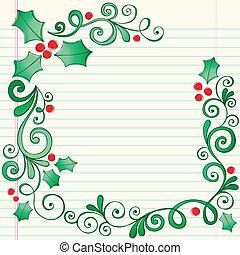 doodles, navidad, sketchy, acebo