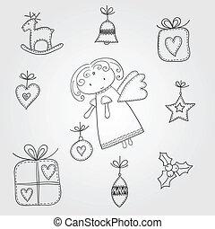 doodles, noël, ange