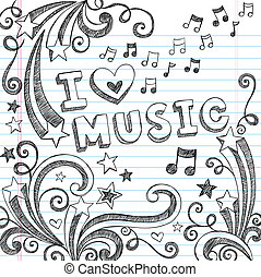 doodles, notas, vetorial, música, sketchy