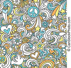 doodles, notatnik, seamless, próbka
