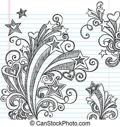 doodles, notizbuch, starburst, sketchy