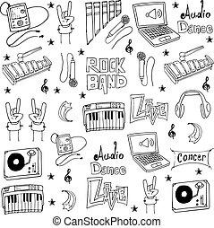 doodles, objeto, coleção música, estoque