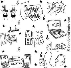 doodles, objeto, música, pacote