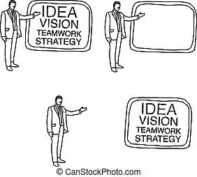 doodles of businessman present whiteboard
