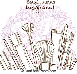 Doodles of cosmetic means on pink peony flower background