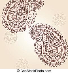 doodles, paisley, vektor, henna
